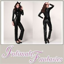 Black Vinyl Sexy Dominatrix Cosplay Jumpsuit Catsuit Wet Pvc Look Size 8 10 12