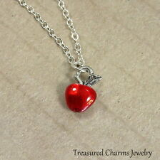 Tiny Red Enamel Apple Necklace - Teacher Gift Apple Fruit Charm Pendant NEW