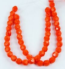 25 Opaque Bright Orange Czech Firepolish Faceted Round Glass Beads 6mm