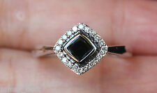 New 10K 1/2ct Black & White Diamond Halo Engagement Ring White Gold Size 7