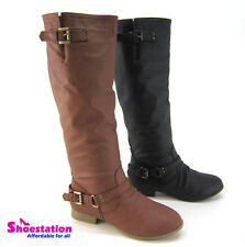 Flat Strappy Buckle Riding Knee Thigh High Boot Women's Shoes Size 5 - 10 NEW