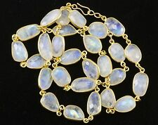 Blue Moonstone Necklace Rainbow Bezel Set Large Chain 14k Vermeil gold 24 Inch