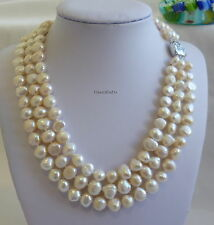 Silver 8-9 mm baroque culturered freshwater pearls 3-strand necklaces RP $210.00