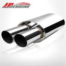 "3"" DUAL SLANT TIP 3"" INLET OVAL STAINLESS STEEL MUFFLER FIT UNIVERSAL 3"