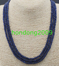 NATURAL 3 Rows 2X4mm FACETED DARK Blue Sapphire BEADS NECKLACE