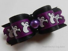 PrattvilleUSA Dog Bow ~ 5/8 ~ Halloween Ghosts ~ Shih Tzu Yorkie Dog Hair Bow