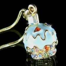 w Swarovski Crystal 3D ~Blueberry CUPCAKE Charm Pendant Gold Plated Necklace New