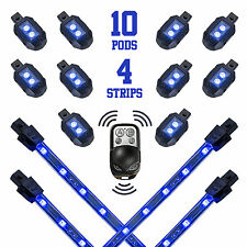 Blue Remote Control 10 Pod 4 Strip Motorcycle Underglow Neon Accent Bike Lights