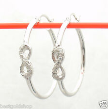 "1"" Diamonique CZ Infinity Hoop Earrings AntiTarnish Real Sterling Silver"