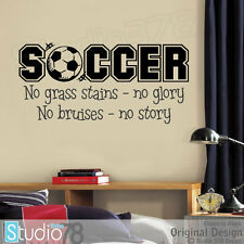 No Grass Stains No Glory Soccer Sports Vinyl Wall Decal - Boys Girls Room Decor