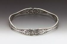 SILVER SPOON LADY HELEN BANGLE BRACELET ANTIQUE SPOON FLORAL PATTERN DESIGN