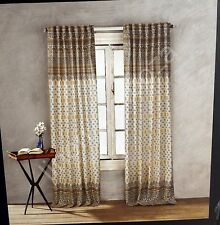 Nicole Miller Tan Gray Yellow Mustard Paisley Window Curtain Panels PAIR 52x96