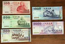 Set of Taiwan Dollar 2000 1000 500 200 100 Rare Bills TWD Mint Republic of China