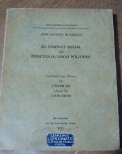 Jean Jacques Rousseau, Du contrat social, Joseph Ur, Léon Roth, Jérusalem 1932