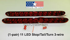 "(2) Red RV Truck Trailer Stop Tail Turn Light 11 LED 15"" low profile USA Made"
