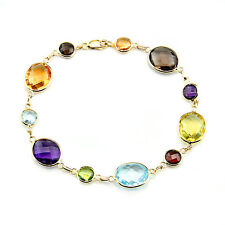 """14K Yellow Gold Station Bracelet With Oval & Round Multi-Color Gemstones 7 1/2"""""""