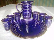 Set 6 Bicchieri Brocca Piatto ceramica smaltata (Blu Cobalto) Anni '60 VINTAGE
