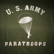 WWII US Army Paratroops Airborne Open Chute OD Green T Shirt, Men's size S - XL