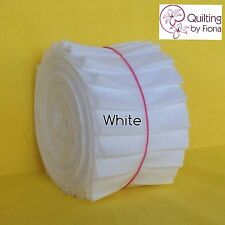 """20 x 2.5"""" White Jelly Roll Fabric Strips, 2.5 inch x WOF, Die Cut, Cotton"""