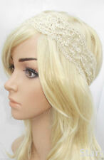 Cream Ivory Lace Headband Flapper Great Gatsby 1920s Vintage Headpiece 1930s W19