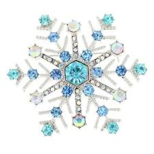 Sparkling Diamante Brooch Pin Christmas Snowflake Wedding Party Jewelry