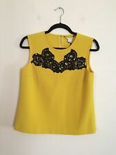 =TOP= DIANE VON FURSTENBERG DVF $489 Yellow Black Lace Sequin Dress Tank AU 10