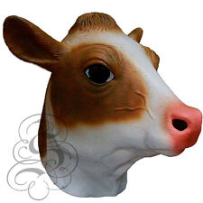 Latex Full Head Milk Cow Animal (Brown/White) Fancy Dress Up Party Carnival Mask