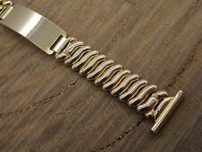 """Bretton 12K GF Overhand expansion watch band with engravable ID tag 19mm 3/4"""""""