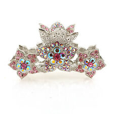 Gold Plated Pink Clip Rhinestone Metal Hair Band Crystal Claw Pins Pony Head 7cm