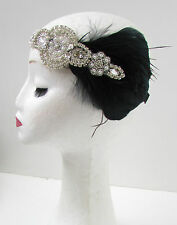 Black Silver Vintage Feather Headdress 1920s Great Gatsby Headband Diamante X02
