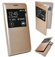 HOUSSE ETUI COQUE S-VIEW COVER CACHE BATTERIE OR GOLD pour SAMSUNG GALAXY ALPHA