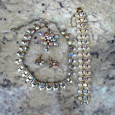 VIntage CORO Necklace Bracelet Earrings & Brooch Set Aurora Borealis Rhinestones