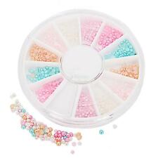 6 Colors 3D Nail Art Tips Pearl Acrylic Gems Glitter Rhinestions DIY Decoration