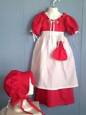 Civil war, victorian, prairie, 4 pc girls dress set. Cherry Apple Red  Size 7/8