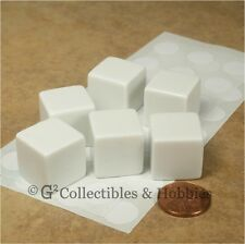 NEW 6 19mm 3/4 inch White Blank Dice Set with Stickers Six Sided D&D RPG Game D6