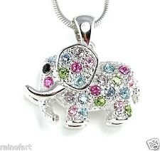 W Swarovski Crystal Good Luck Multi Color ELEPHANT Necklace Pendant L