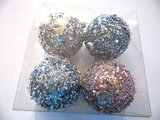 4 Blue Pink Glitter Beads 3 Inch Shatter Resistant Christmas Ornament Decoration