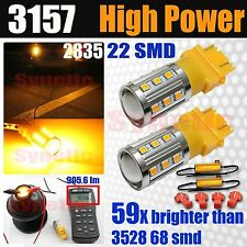 2x 3157 3057 High Power 2835 Amber Yellow Turn Signals 900LM LED Lights+Resistor