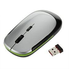 Small 2.4GHz Ultra-Slim Mini USB Wireless Optical Mouse Silver For PC Laptop J#~