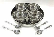 9 PC ROUND DELUXE STEEL RELISH PICKLE CHUTNEY SERVING BOWLS THALI SPOON LARGE