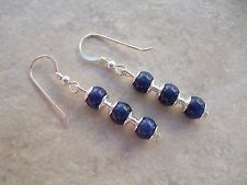 Elegant Blue Lapis Lazuli Earrings on Sterling Silver Ear Hooks Pierced Gift