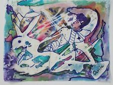 """Original Man & Beast abstract painting, watercolor & pen by US artist, 9.5""""x12"""""""
