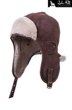 BRAND NEW REAL SHEEPSKIN LEATHER AVIATOR TRAPPER USHANKA HAT SIZE M