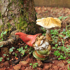 Miniature Garden Gnome with Mushroom Umbrella TO 4265 Fairy Garden Dollhouse