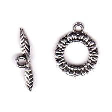 10 Paar Knebelverschlüsse silber Blume Feder Armbandverschluss