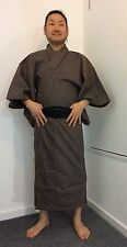 Authentic Japanese brown wool kimono for men, good condition (E1000)