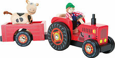 Wooden Toy Farm tractor and trailer with farmer and cow, makes a great gift