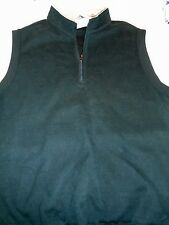 Peter Millar Melange Cotton Fleece 1/4 Zip Sweater Vest NWT Medium $125 Black