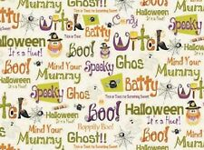 Fat Quarter Boppity Boo Words Halloween Cotton Quilting Fabric- Red Rooster