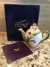 "NIB Franz Slipper Orchid Sculptured Porcelain Teapot w/Cover, 7"" tall"
